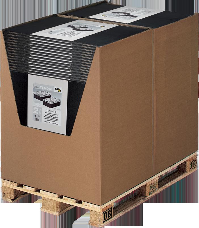 ECO line TENDRI Aufbewahrungsboxen im Well-Container als Palettenplatzierung