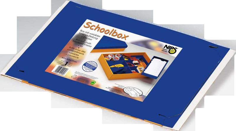 SCHOOLBOX flachliegend in Folie mit verkaufsförderndem Einleger inklusive leicht verständlicher Aufbauanleitung