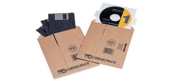 NIPS SAFE-WELL CD/DISC-PACK für den Versand von bis zu 8 CDs/DVDs in Papierhüllen oder Disketten/Floppy Disk