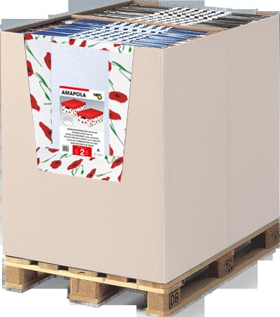 Aufbewahrungsboxen mit Deckel als Palettenplatzierung im Wellcontainer