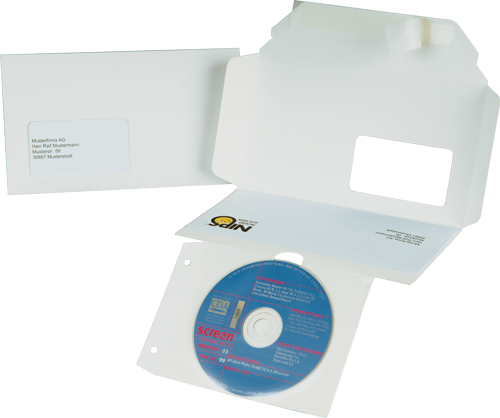 NIPS CD-DVD-CARD mit abtrennbarer Transparent-CD-Tasche mit Lochstanzung zur Archivierung