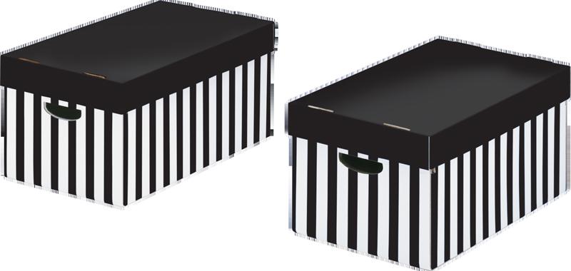 STORE-BOX Aufbewahrungsboxen Schwarz-weiss Gestreift