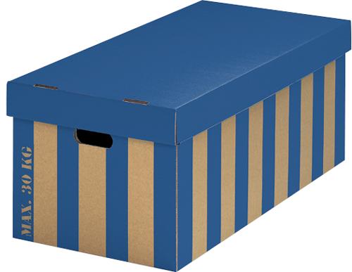 XXL-BOX großvolumige Aufbewahrungsboxen mit Deckel blau gestreift