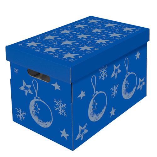 NIPS CHRISTMAS Aufbewahrungsbox Für Christbaumkugeln Und Weihnachtsdeko Blau-silber