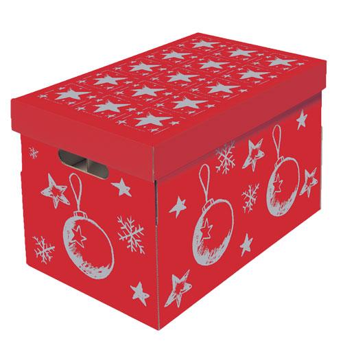 CHRISTMAS Aufbewahrungsbox Für Christbaumkugeln Und Weihnachtsdeko Rot-silber
