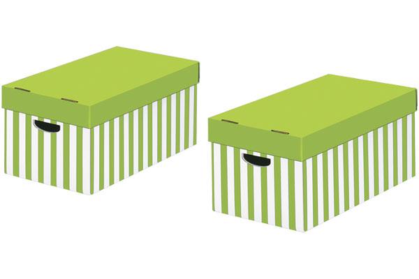 STORE-BOX Aufbewahrungsboxen Grün-weiss Gestreift