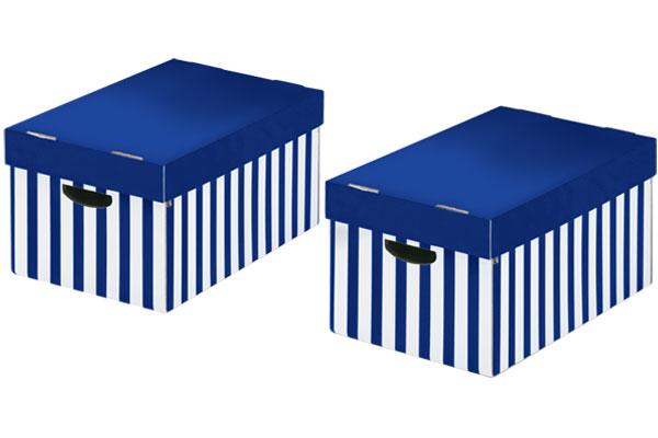STORE-BOX Aufbewahrungsboxen Blau-weiss Gestreift